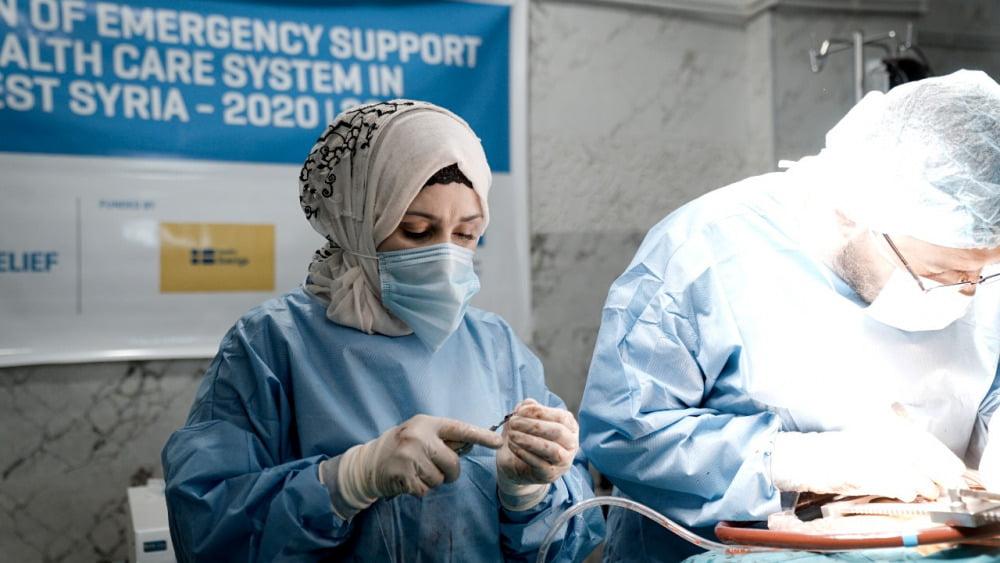Vårdpersonal på ett kardiologicenter i nordvästra Syrien som Islamic Relief stöttar.